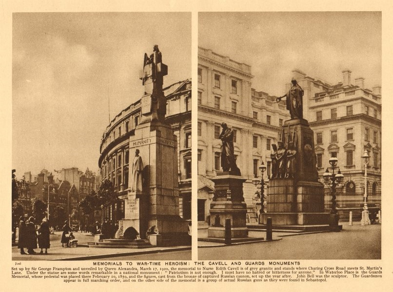 Associate Product Edith Cavell, Charing Cross Road. Guards Memorial, Waterloo Place 1926 print