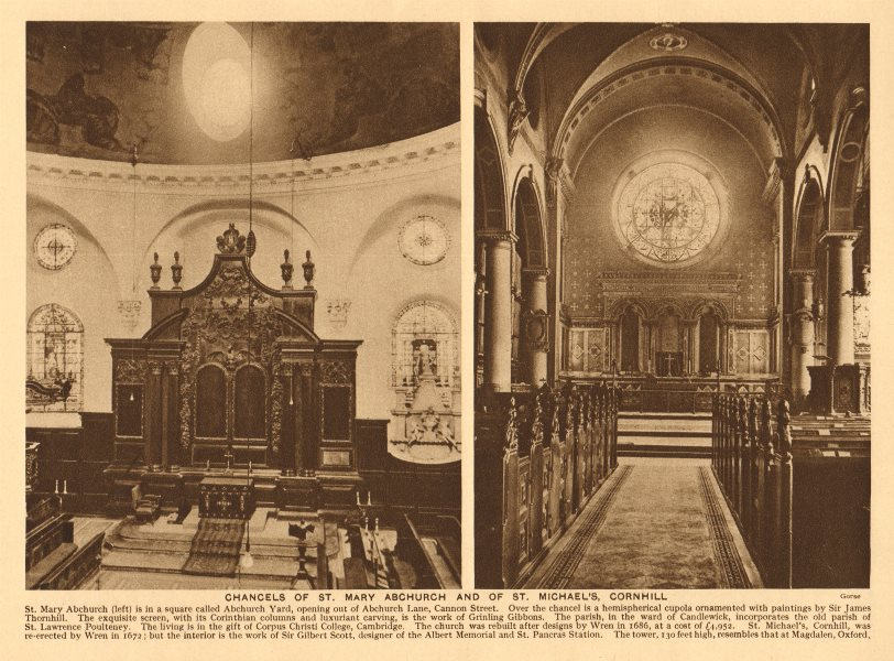 Associate Product Chancels of St. Mary Abchurch and of St. Michael's, Cornhill 1926 old print
