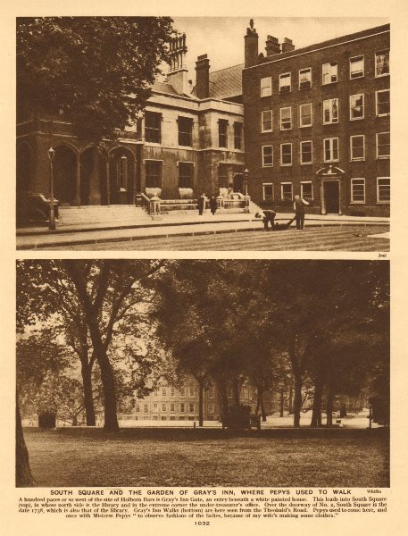 Associate Product South Square and the garden of Gray's Inn, where Pepys used to walk 1926 print