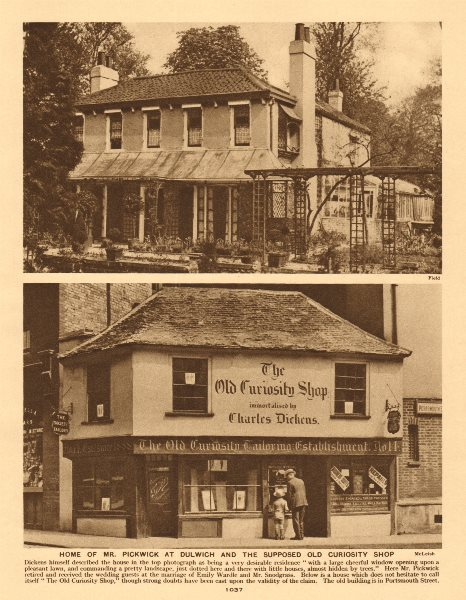 Associate Product Mr Pickwick's home, Dulwich. Old Curiosity shop, Portsmouth Street 1926 print