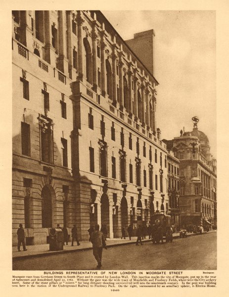 Associate Product Moorgate. City of London. Electra House 1926 old vintage print picture