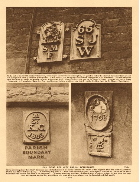 City of London parish boundary signs 1926 old vintage print picture