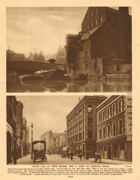 Associate Product River Lea at Bow Bridge. Curtain Road, Shoreditch. Cabinet makers 1926 print