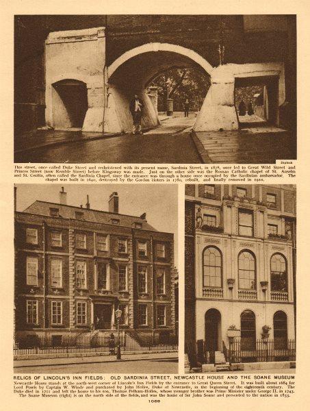 Associate Product Lincoln's Inn Fields. Sardinia Street Newcastle House Soane Museum 1926 print