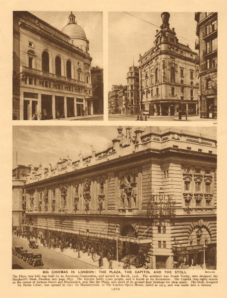London cinemas. Plaza, Piccadilly Circus.Capitol, Haymarket.Stoll, Kingsway 1926