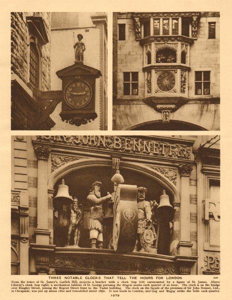 Associate Product London clocks. St James's Garlick Hill. Liberty's. Bennet, Cheapside 1926