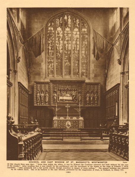 Associate Product Chancel and east window of St. Margaret's, Westminster 1926 old vintage print