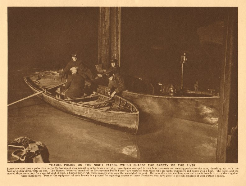 Associate Product Thames Police on the night patrol guarding the safety of the river 1926 print