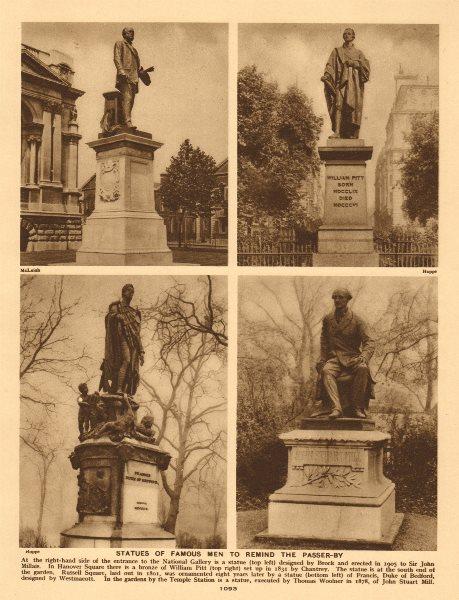 Associate Product London Statues. Sir John Millais. William Pitt. John Stuart Mill. Bedford 1926