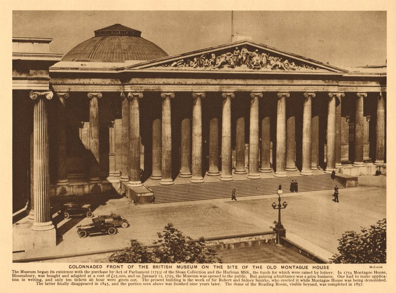 Associate Product Colonnaded front of the British Museum. Vintage cars 1926 old vintage print