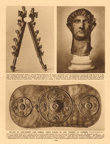 Associate Product Pre-Roman & Roman relics found in the Thames at London 1926 old vintage print