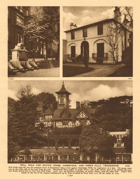 Associate Product Well Walk & Keats's House, Hampstead. Pope's Villa, Twickenham 1926 old print