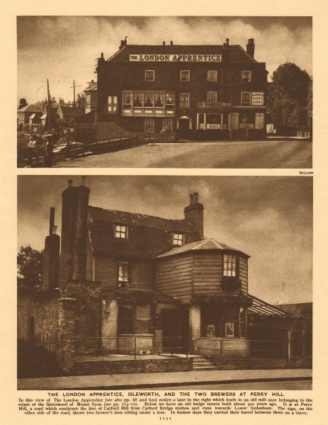 Associate Product The London Apprentice, Isleworth. Two Brewers, Perry Hill, Catford 1926 print