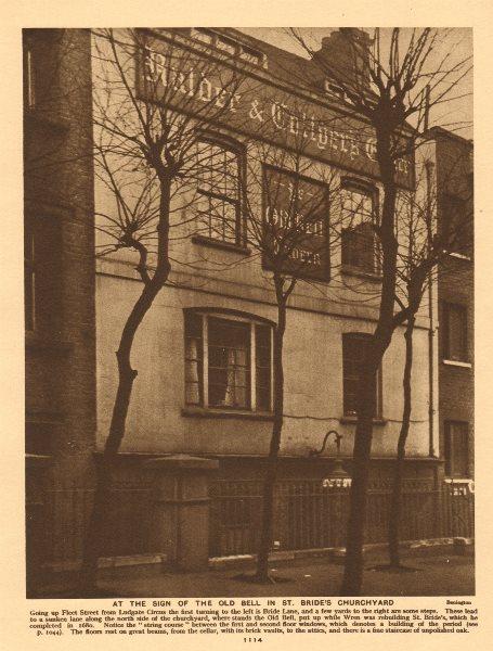 Associate Product Old Bell Tavern, St. Bride's churchyard, Fleet Street 1926 vintage print