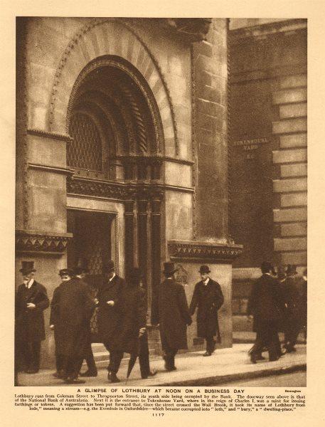 Associate Product Lothbury & Tokenhouse Yard. Top Hats. National Bank of Australasia 1926 print