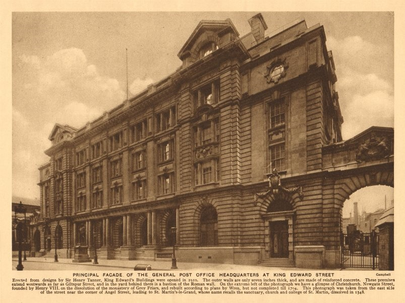 General Post Office headquarters at King Edward Street, City of London 1926