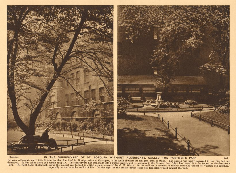 """Associate Product St.Botolph without Aldersgate churchyard, """"the Postmen's Park"""" 1926 old print"""
