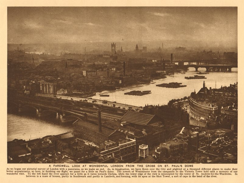 Associate Product London from St. Paul's Dome. South Bank Westminster River Thames 1926 print