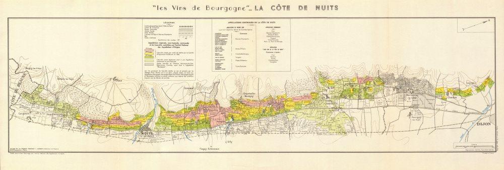 Associate Product BURGUNDY BOURGOGNE WINE MAP La Côte de Nuits. Vineyards vignobles. LARMAT 1953