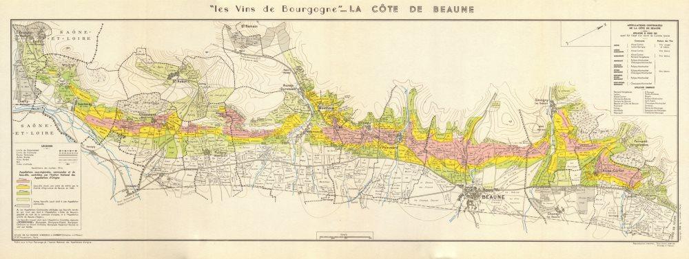 Associate Product BURGUNDY BOURGOGNE WINE MAP La Côte de Beaune. Vineyards vignobles. LARMAT 1953