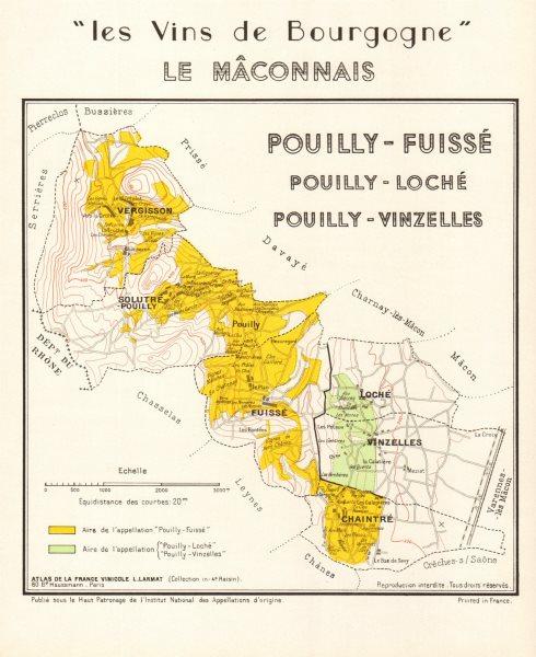 Associate Product BURGUNDY BOURGOGNE WINE MAP Pouilly-Fuissé/Loché/Vinzelles Mâconnais LARMAT 1953