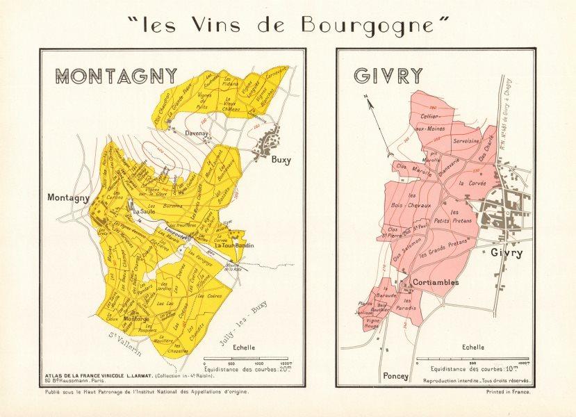 Associate Product BURGUNDY BOURGOGNE VINEYARD MAP Montagny Givry AOC Côte Chalonnaise. LARMAT 1953