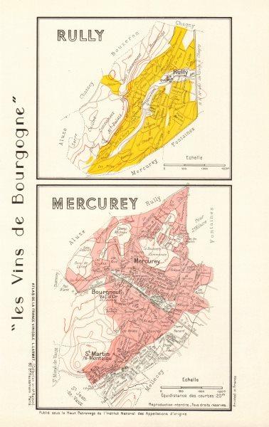 Associate Product BURGUNDY BOURGOGNE VINEYARD MAP Rully Mercurey AOC Côte Chalonnaise. LARMAT 1953