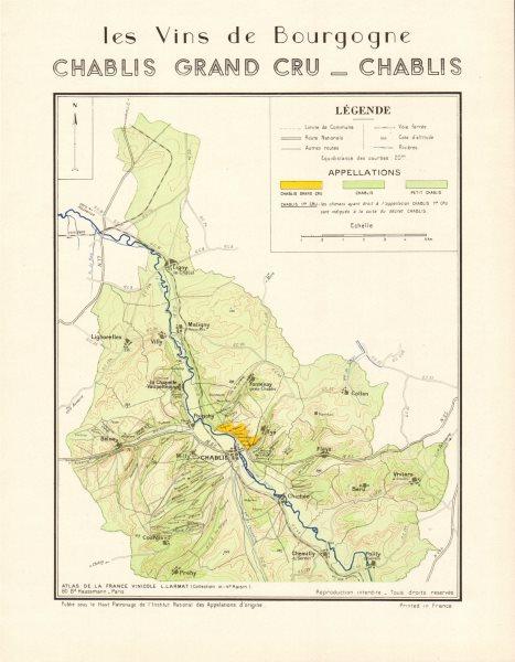Associate Product BURGUNDY BOURGOGNE WINE MAP Chablis Appellations vineyards vignobles LARMAT 1953