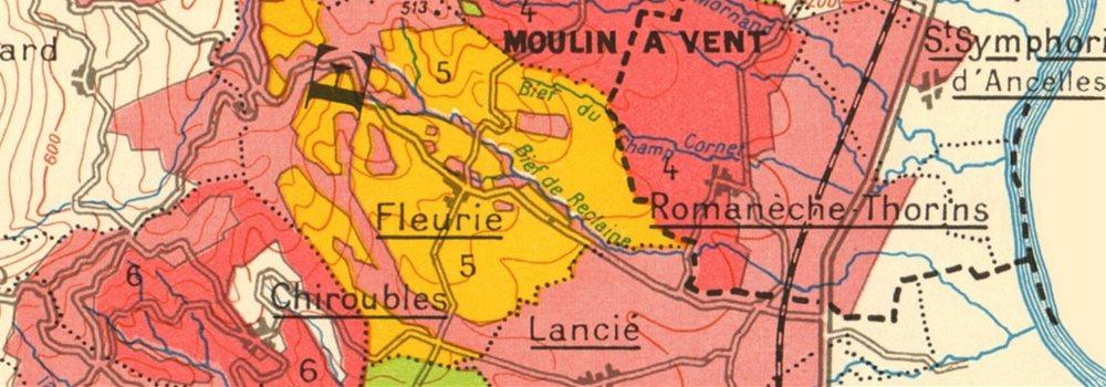 BURGUNDY BOURGOGNE WINE MAP Beaujolais appellations.Fleurie Brouilly LARMAT 1953