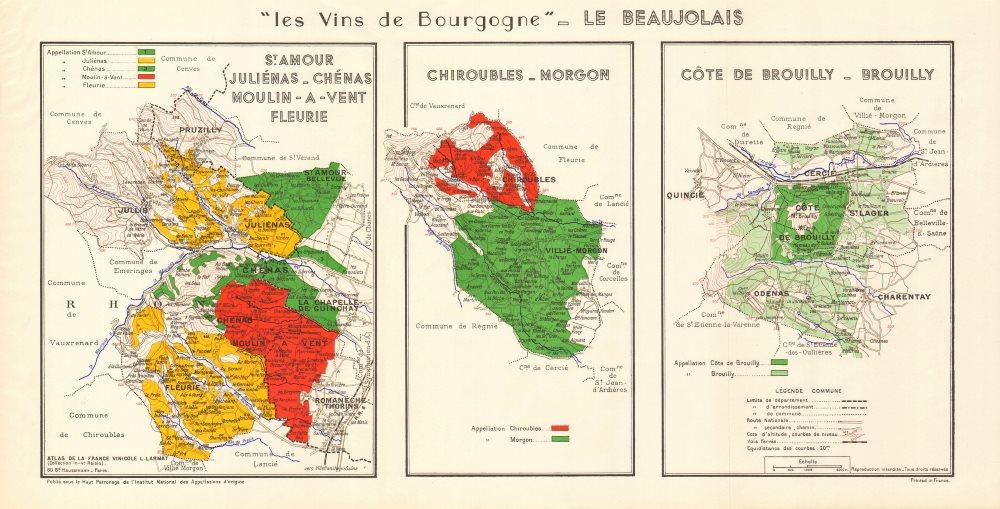 Associate Product BURGUNDY BOURGOGNE WINE MAP Beaujolais vineyards vignobles AOCs. LARMAT 1953