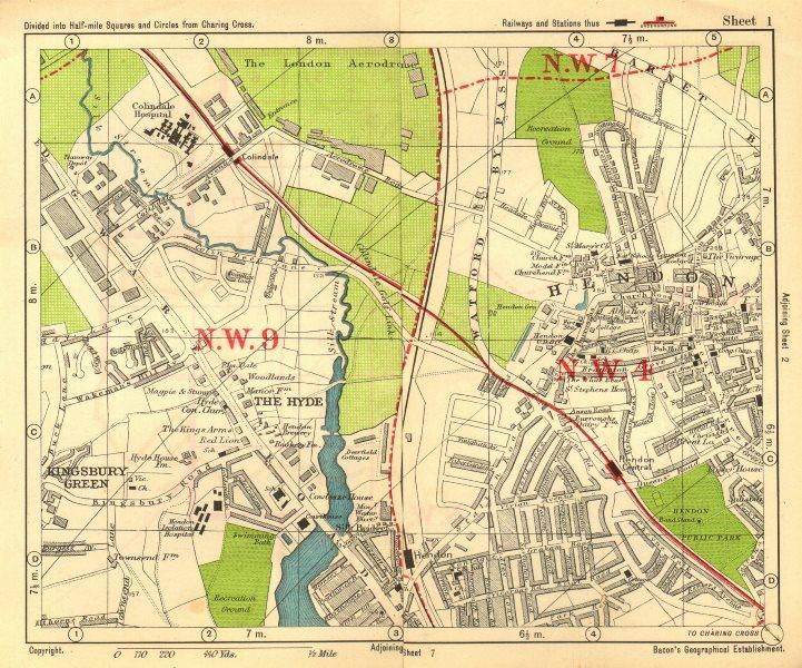 Associate Product NW LONDON. Hendon Aerodrome Kingsbury Green The Hyde. BACON 1928 old map
