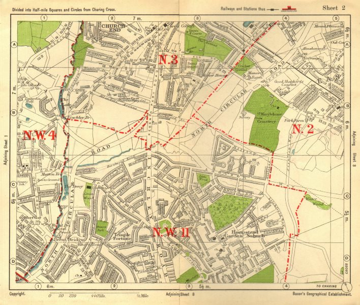 Associate Product NW LONDON. Church End Hampstead Garden Suburb East Finchley. BACON 1928 map