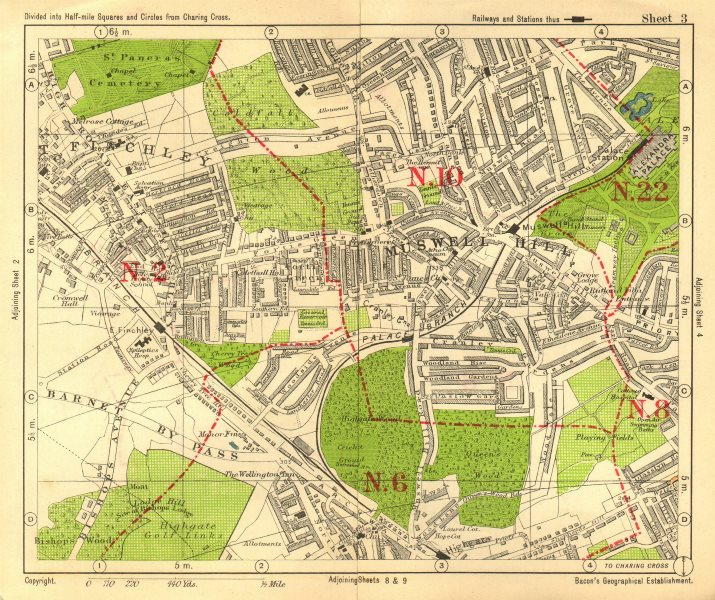 London East Map.Details About N London East Finchley Muswell Hill Highgate Crystal Palace Bacon 1928 Map