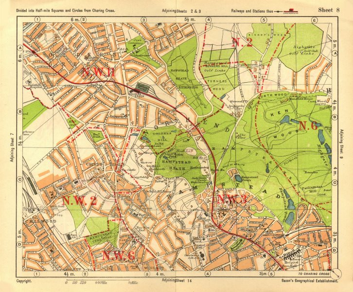 Associate Product NW LONDON. Golders Green Hampstead Child's Hill Cricklewood. BACON 1928 map