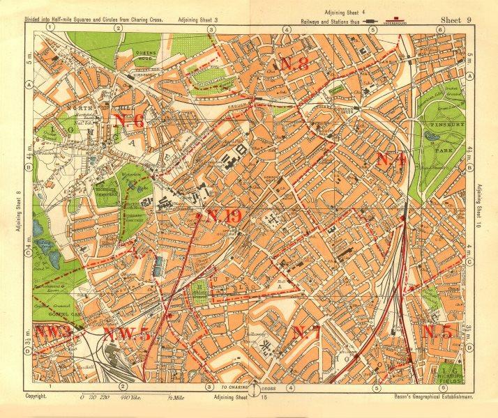 Associate Product N LONDON. Highgate Crouch End Holloway Finsbury Park Gospel Oak. BACON 1928 map