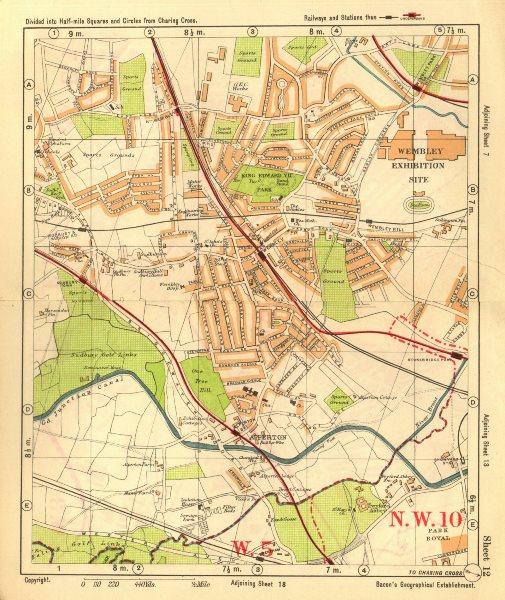 Associate Product NW LONDON. Wembley Sudbury Alperton Park Royal Hanger Lane. BACON 1928 old map