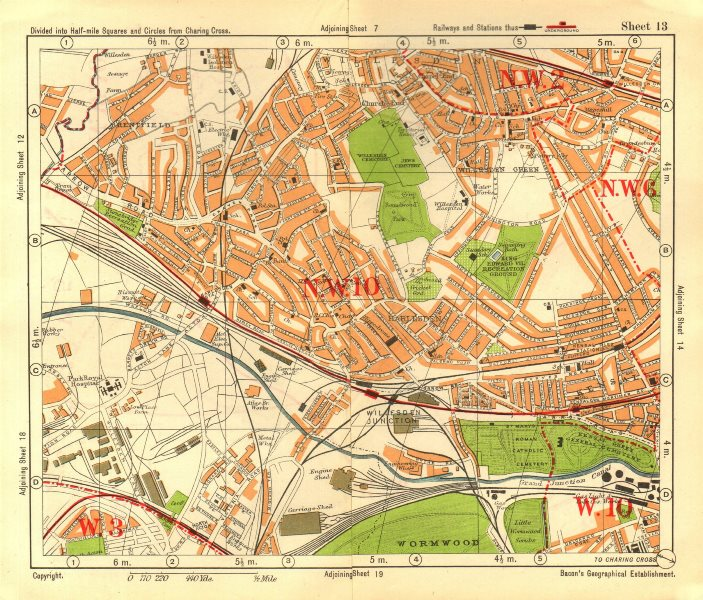 Associate Product NW LONDON Willesden Harlesden Kensal Green Brentfield Park Royal.BACON 1928 map