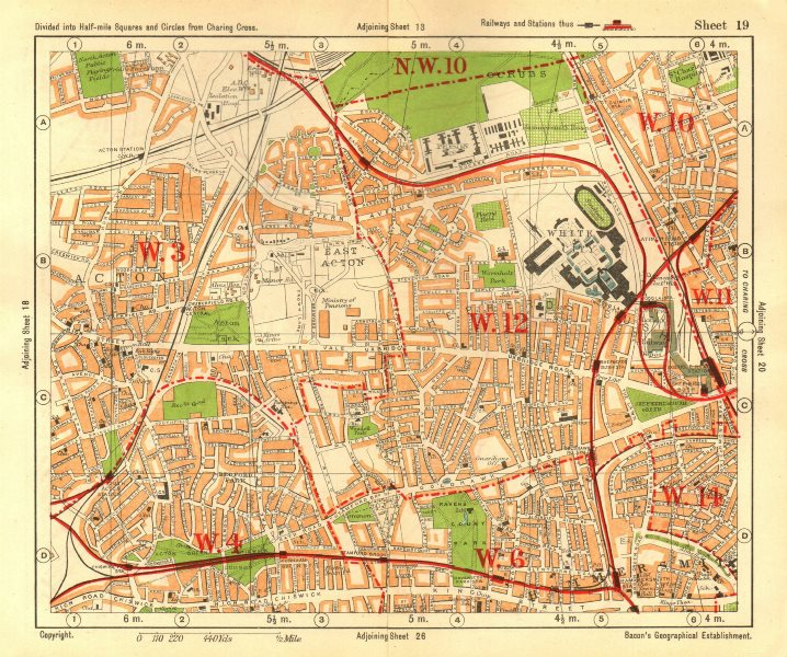 Associate Product W LONDON. Acton Shepherd's Bush Brook Green West Kensington. BACON 1928 map