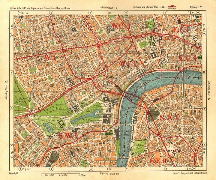 LONDON WEST END. Soho Mayfair Marylebone Lambeth Holborn. BACON 1928 old map