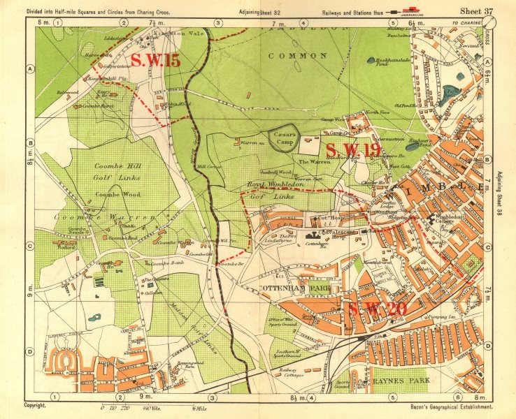 Associate Product SW LONDON. Wimbledon Common Cottenham Park Malden Coombe Hill. BACON 1928 map