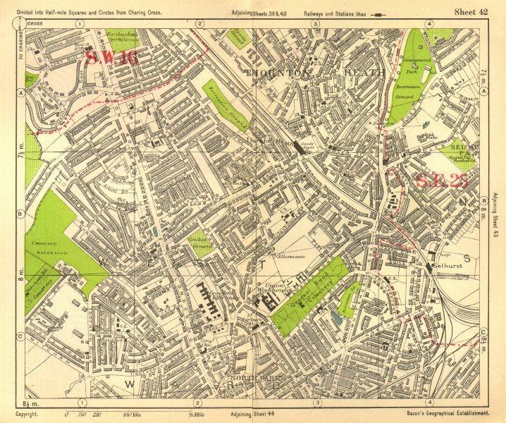 Associate Product SOUTH LONDON. Thornton Heath Broad Green Selhurst. BACON 1928 old vintage map
