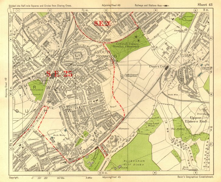 Associate Product SOUTH EAST LONDON. South Norwood Woodside Elmer's End Anerley. BACON 1928 map