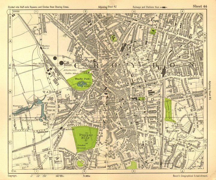 Associate Product CROYDON. Waddon Addiscombe Duppas Hill South London. BACON 1928 old map
