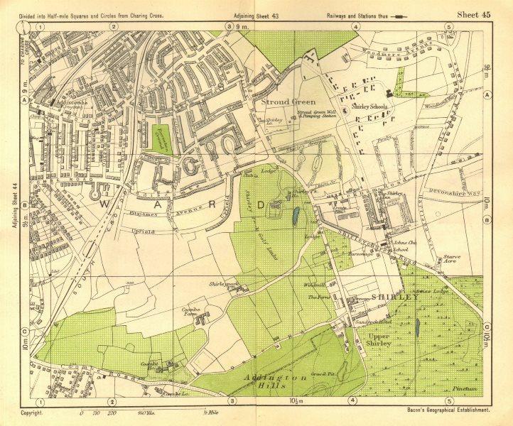 Associate Product SOUTH EAST LONDON. Shirley Addiscombe E Croydon Stroud Green. BACON 1928 map