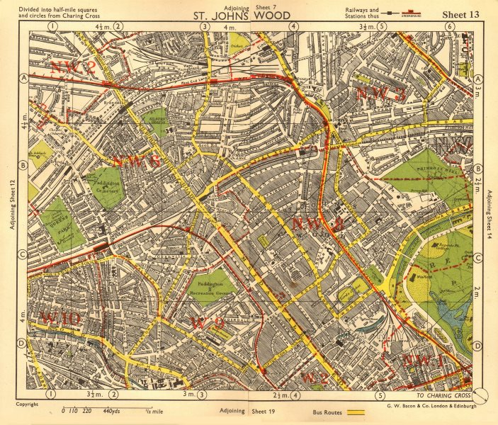 Associate Product NW LONDON. St John's Wood Belsize Park Maida Vale Queens Park. BACON 1955 map