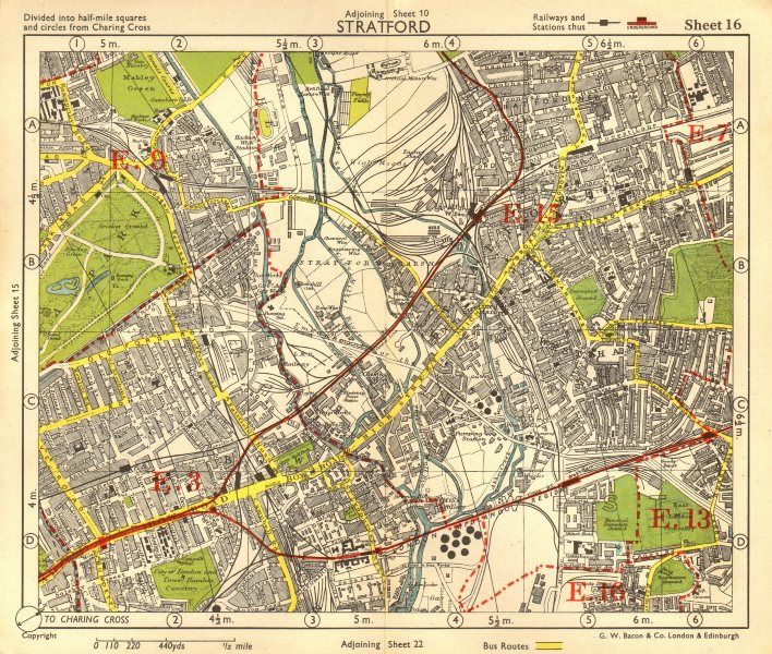 Associate Product NE LONDON. Stratford Bow Hackney Wick West Ham Old Ford Plaistow.BACON 1955 map