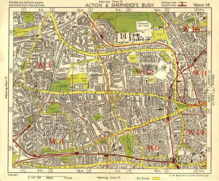 Associate Product W LONDON. Acton Shepherd's Bush Brook Green West Kensington. BACON 1955 map