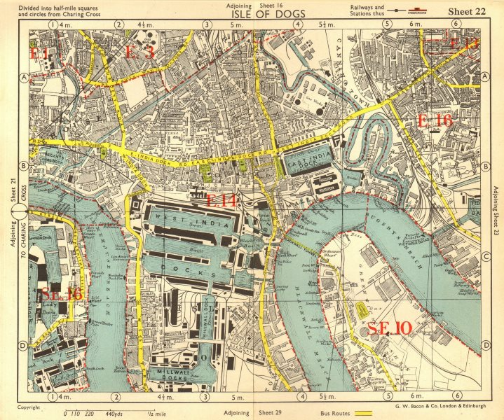 Associate Product E LONDON Surrey Docks Isle of Dogs Canning Town Poplar Limehouse.BACON 1955 map