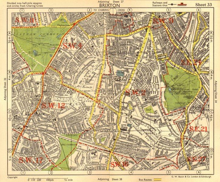 S LONDON. Brixton Clapham Balham Herne Hill Streatham Tusle Hill.BACON 1955 map