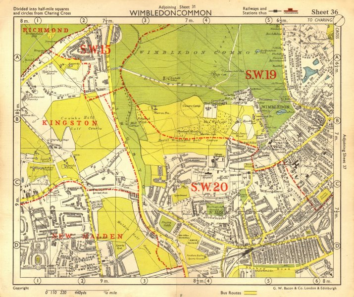 Associate Product SW LONDON. Wimbledon Common Cottenham Park Malden Coombe Hill. BACON 1955 map